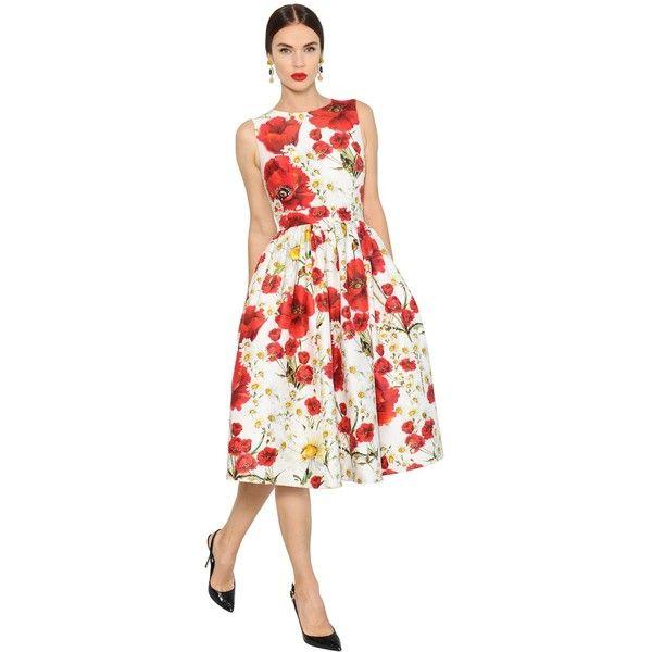 Dolce & Gabbana Women Floral Print Cotton & Silk Mikado Dress ($3,130) ❤ liked on Polyvore featuring dresses, white sleeveless dress, white open back dress, silk floral dress, zipper dress and cotton floral dress