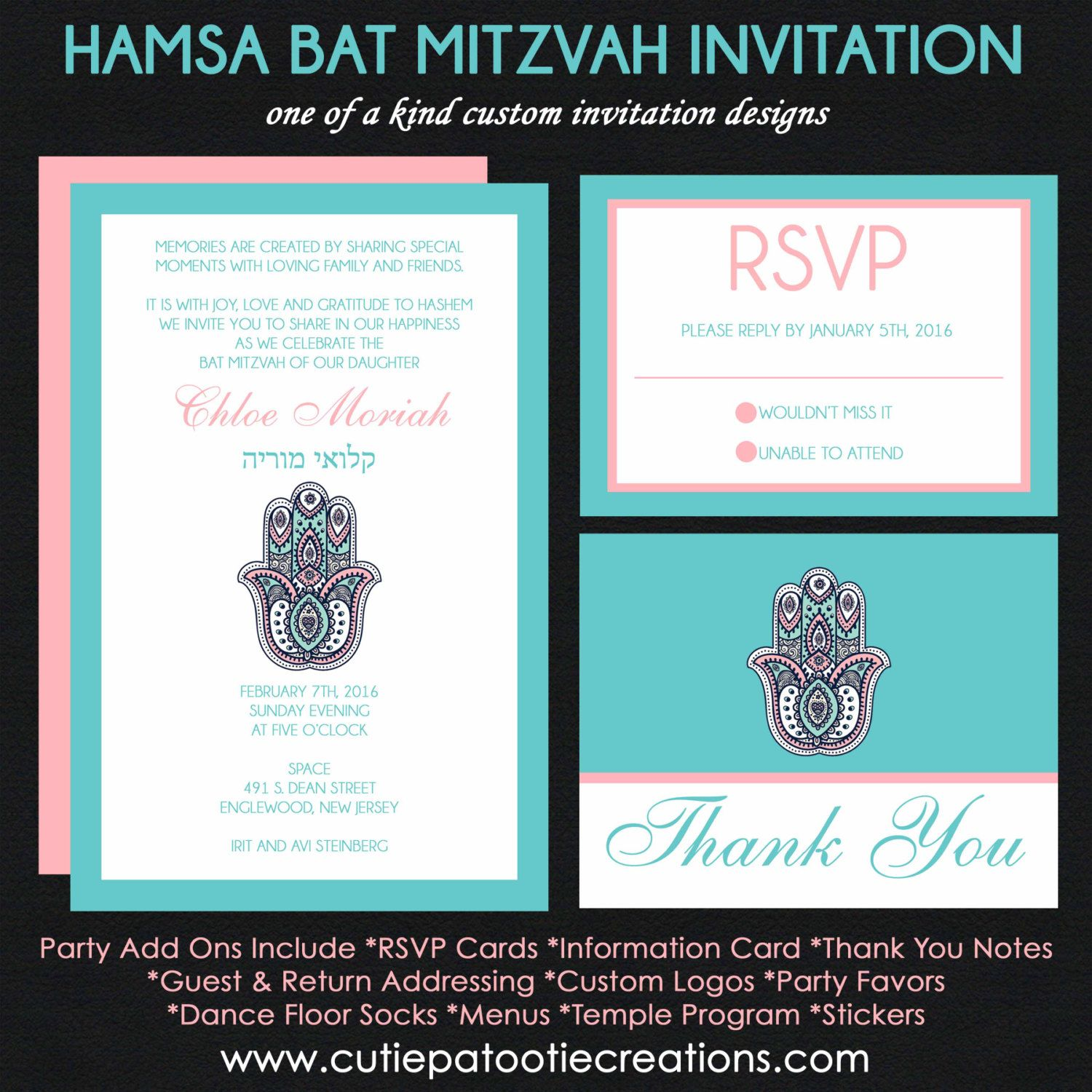 Hamsa Hand Bat Mitzvah Invitation Pink and Teal Blue RSVP Reply – Reply to Party Invitation