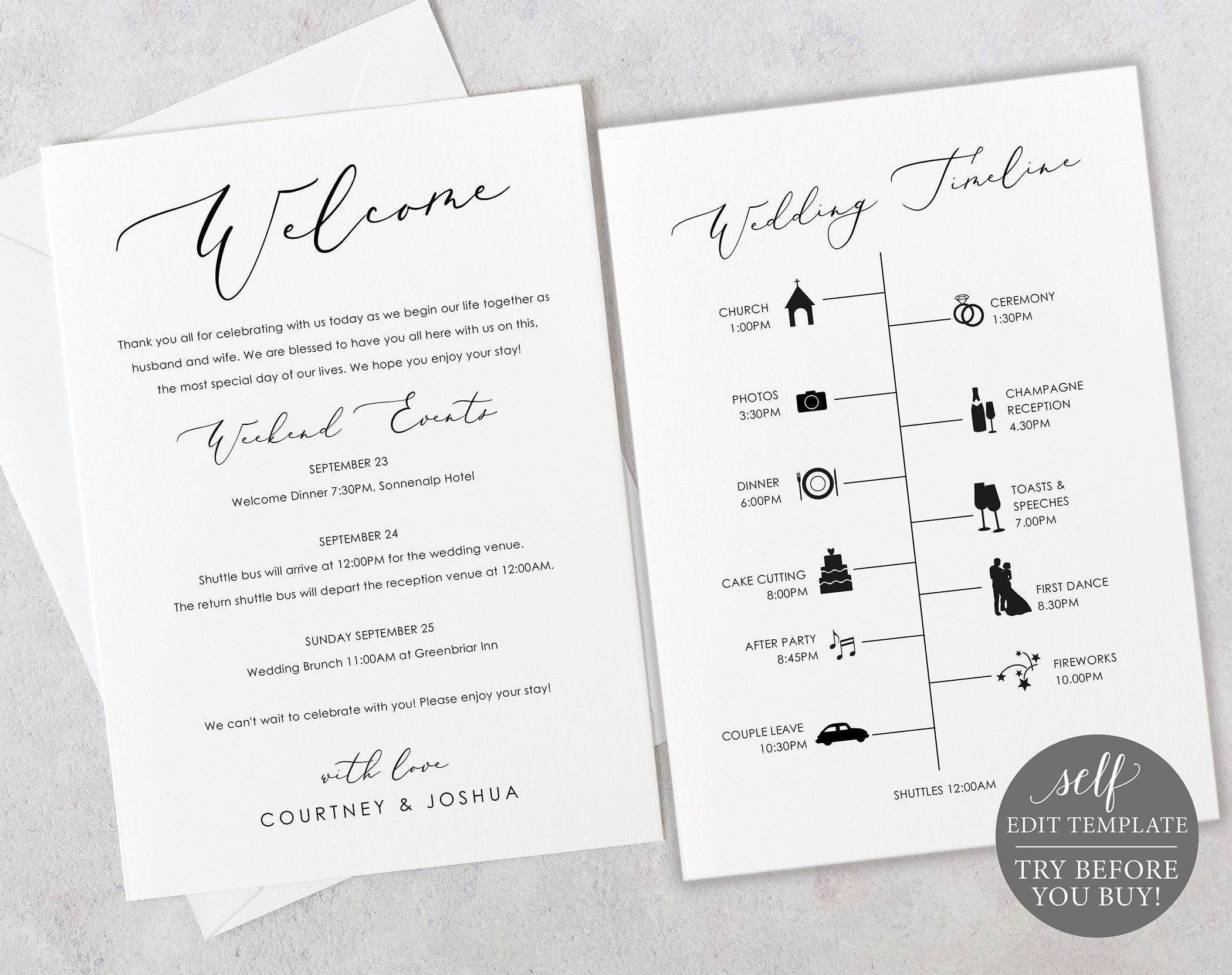 Wedding Itinerary Card Template Elegant Script Editable Etsy Wedding Itinerary Wedding Timeline Welcome Card