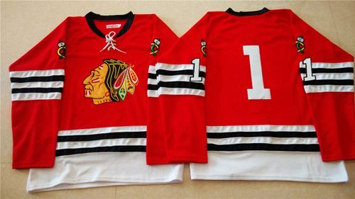 "$34.88 at ""MaryJersey""(maryjerseyelway@gmail.com) Mitchell And Ness 1960-61 Blackhawks 1 Glenn Hall Red Stitched NHL Jersey"