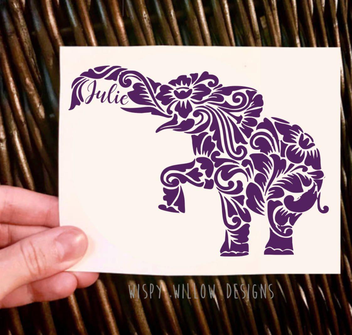 Personalized Boho Elephant Vinyl Decal Sticker Boho Elephant Name Custom Yeti Decal Car Decal Car Sticker Vinyl Decals Yeti Decals Vinyl Decal Stickers [ 1068 x 1122 Pixel ]