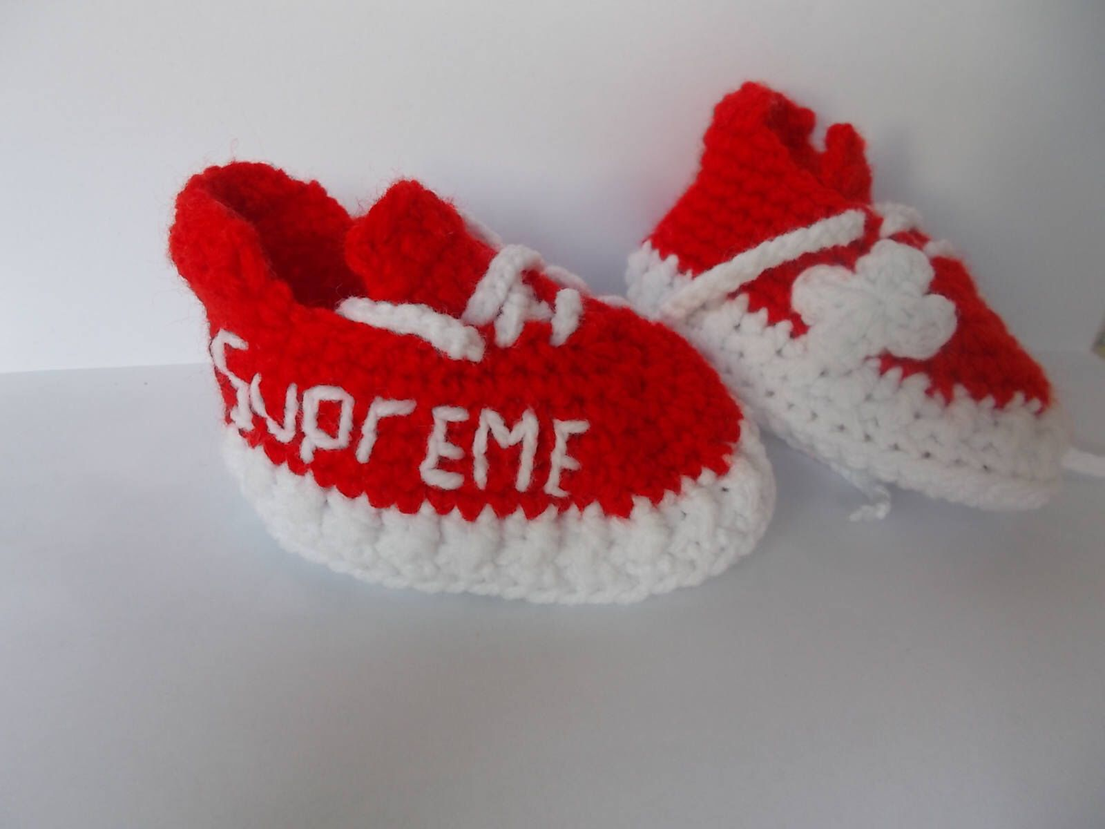 Crochet Baby Shoes, The Yeezy Boost 350 red supreme, Sneakers Baby ...