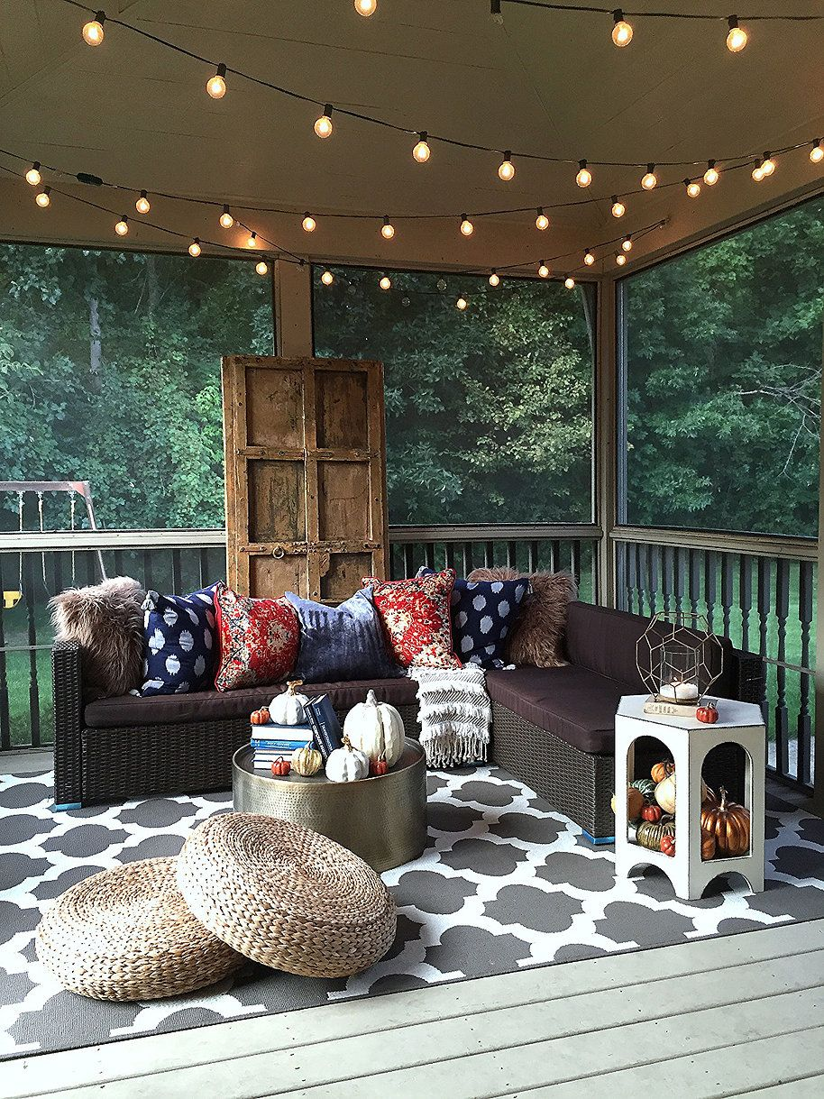 How To Hang String Lights Indoors Impressive Autumn On The Back Porch  Wonderful Time Autumn And Porch Design Inspiration
