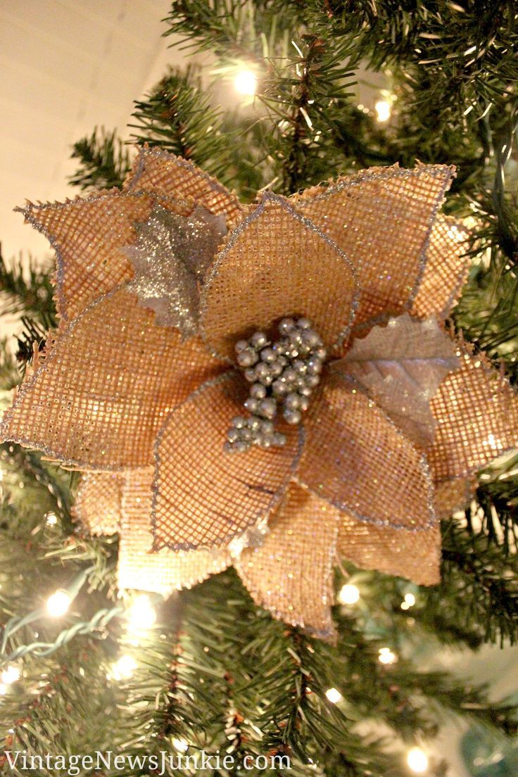 Love This Diy Burlap Flower Ornament With Glitter Holiday Diy Using Mod Podge Click Burlap Christmas Ornaments Burlap Flowers Rustic Christmas Ornaments