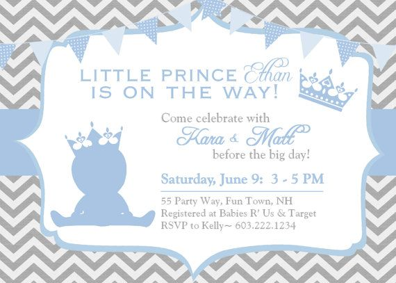 Prince Baby Shower Invitation Chevron Blue by AsYouWishCreations4u - baby shower invitations templates free