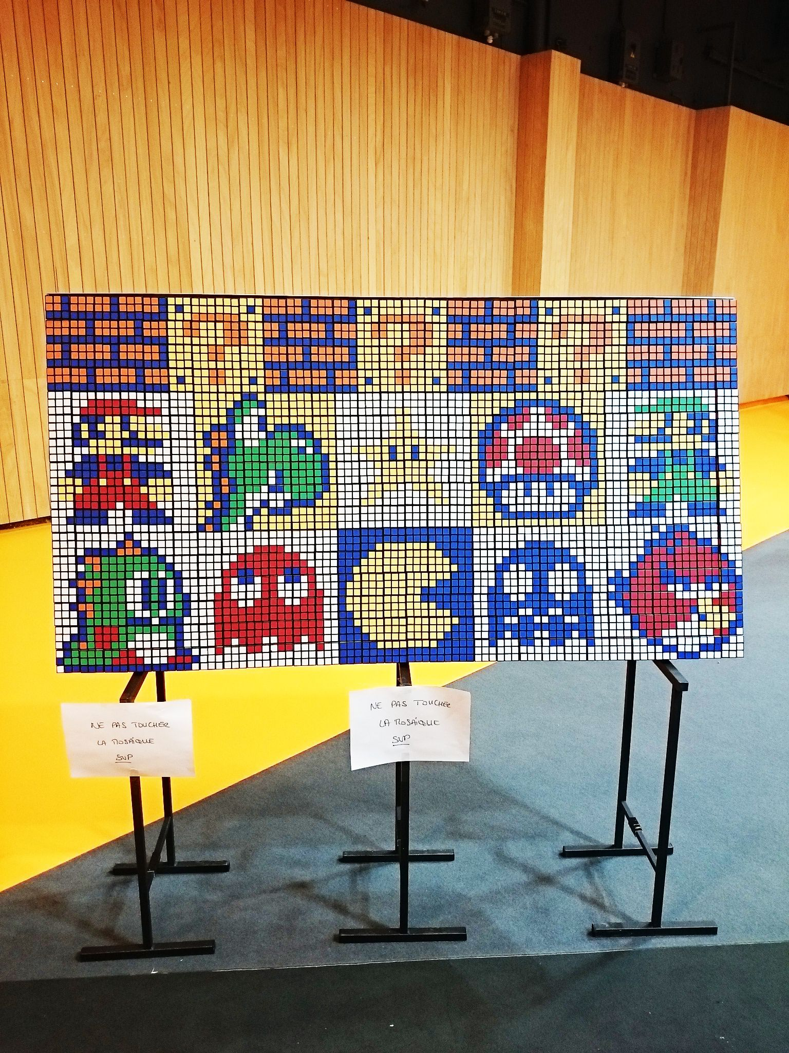 8bits Video game characters in a Rubik's cube mosaic for Design Your Cube at Kidexpo by the Cubeart Brothers #DYC #Designyourcube #Rubik #Art