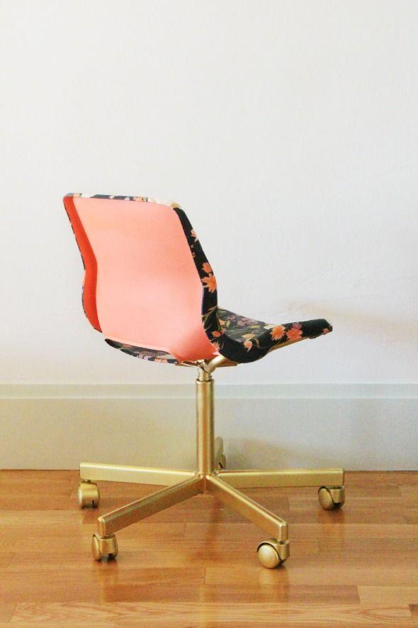 fabric decoupaged and ikea desk chair