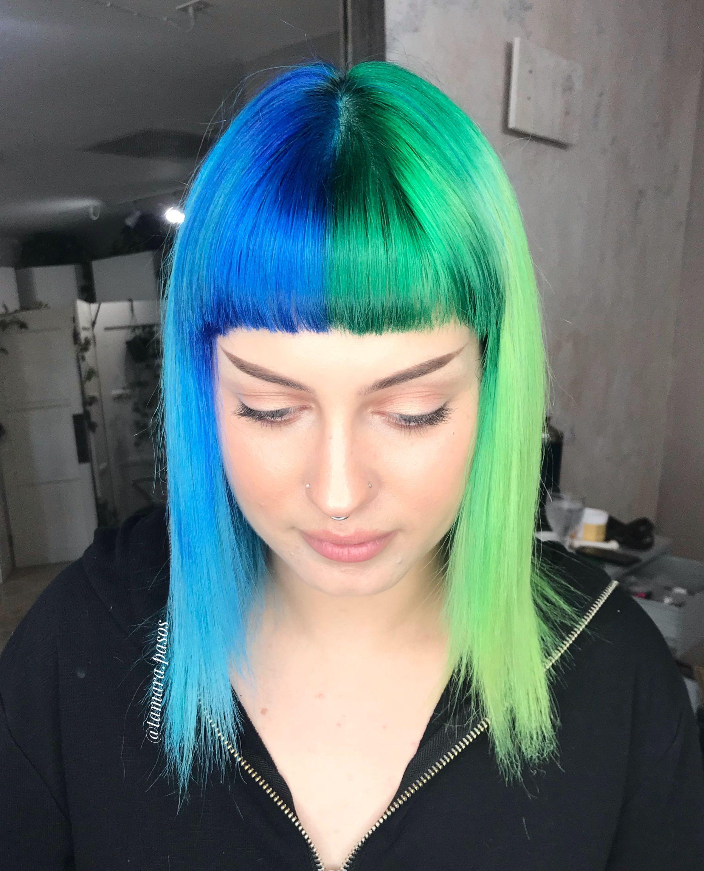 Blue And Green Split Neon Hair Color Half And Half Hair Green Hair