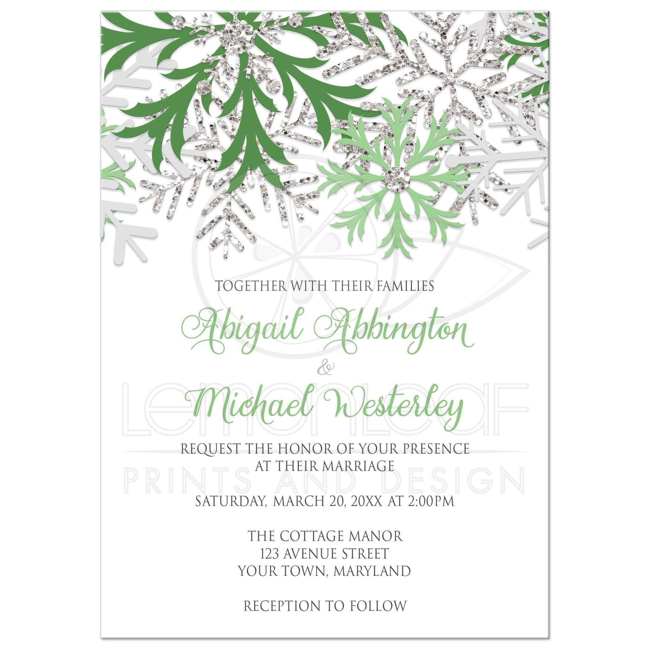 Wedding Invitations - Winter Snowflake Green Silver | Winter wedding ...