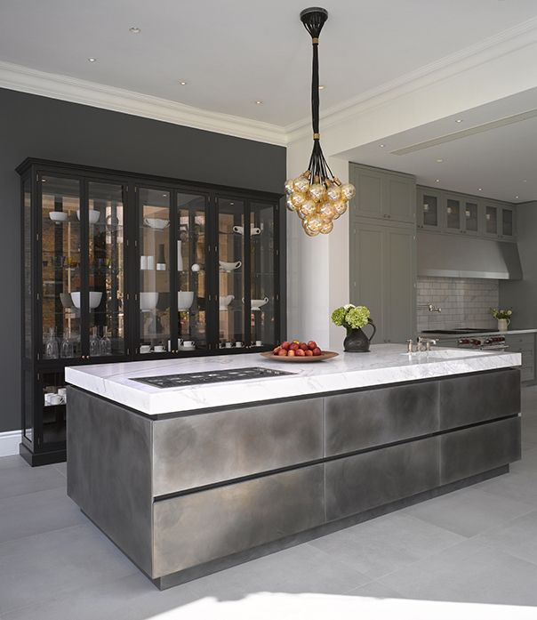 Patinated Silver Island With Cararra Marble Worktop Looks
