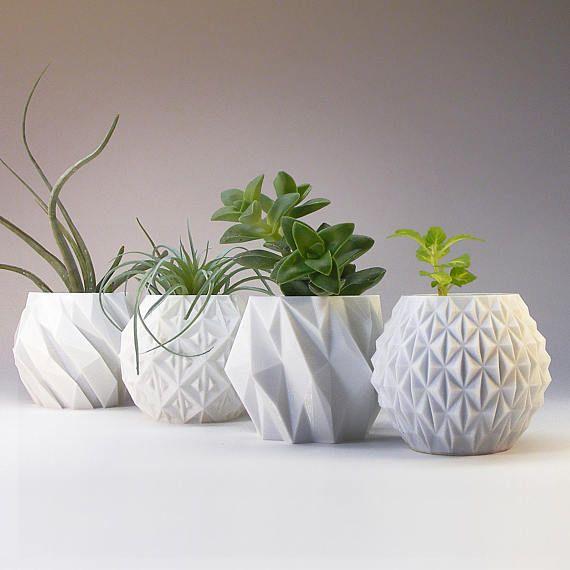 Photo of Modern planter coat decor set geometric planter gift flower pots indoor planter pot small white desk planter set of 3D printed planter