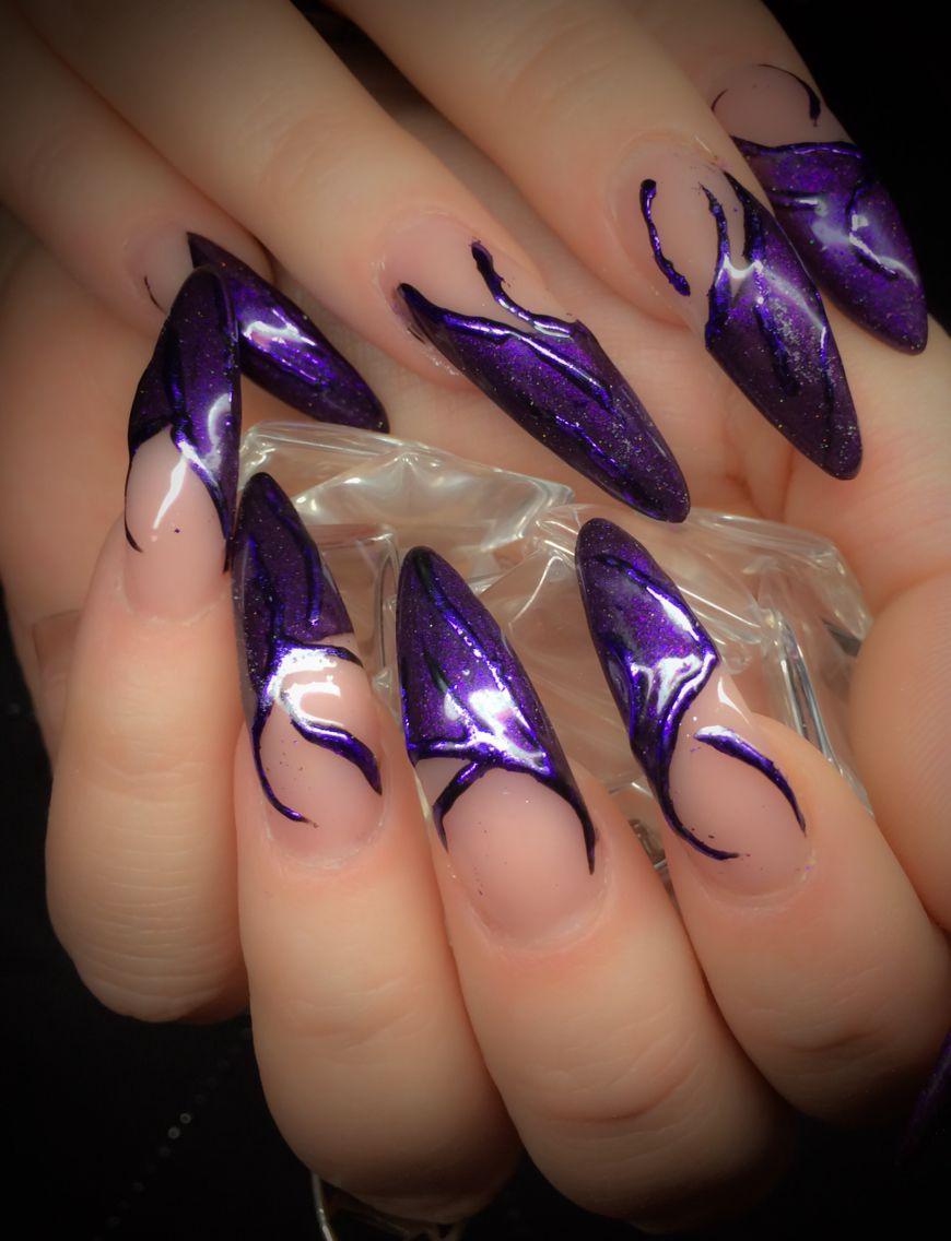Acryl, Magic Purple & Foils www.wickednails.nl https://www.facebook ...