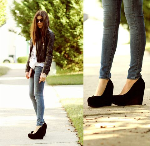 680482ef68a91 wedges & skinny jeans | Outfits♡ | Fashion, Shoes, Jeans