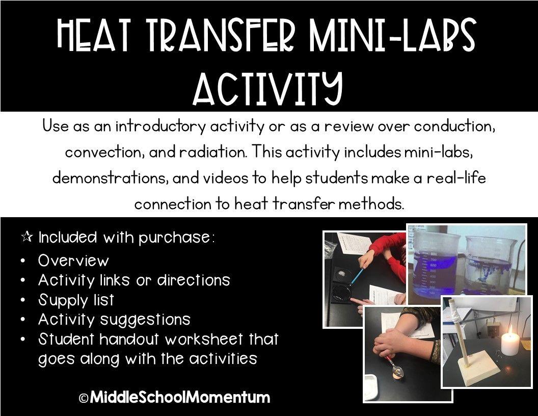 Heat Transfer Mini Labs Activity Heat Transfer Lab Activities Activities