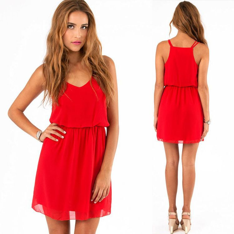 b2ce5896dca Women sexy chiffon Spaghetti Strap red summer Dress Plus size V neck thin  casual loose female short dress Mini dress 2 layer