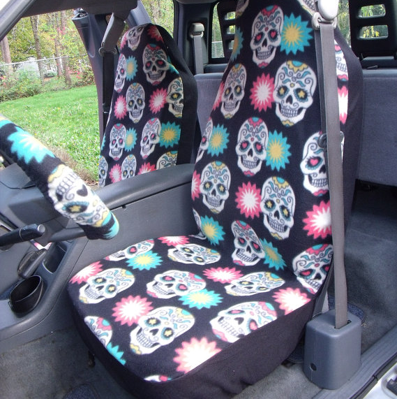Sugar Skull Seat Steering Wheel Covers