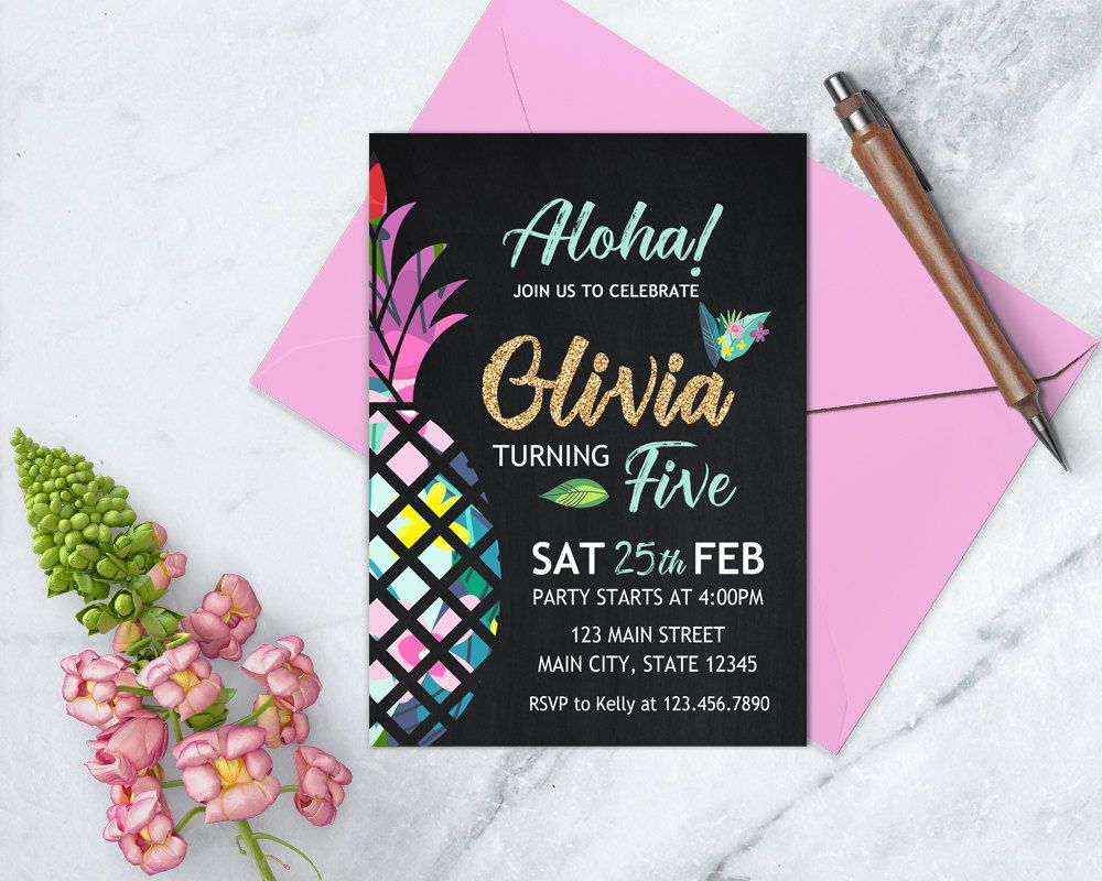 Pineapple birthday invitation luau invitation hawaiian luau invite aloha pineapple birthday invitation luau invitation hawaiian birthday tropical theme birthday any stopboris
