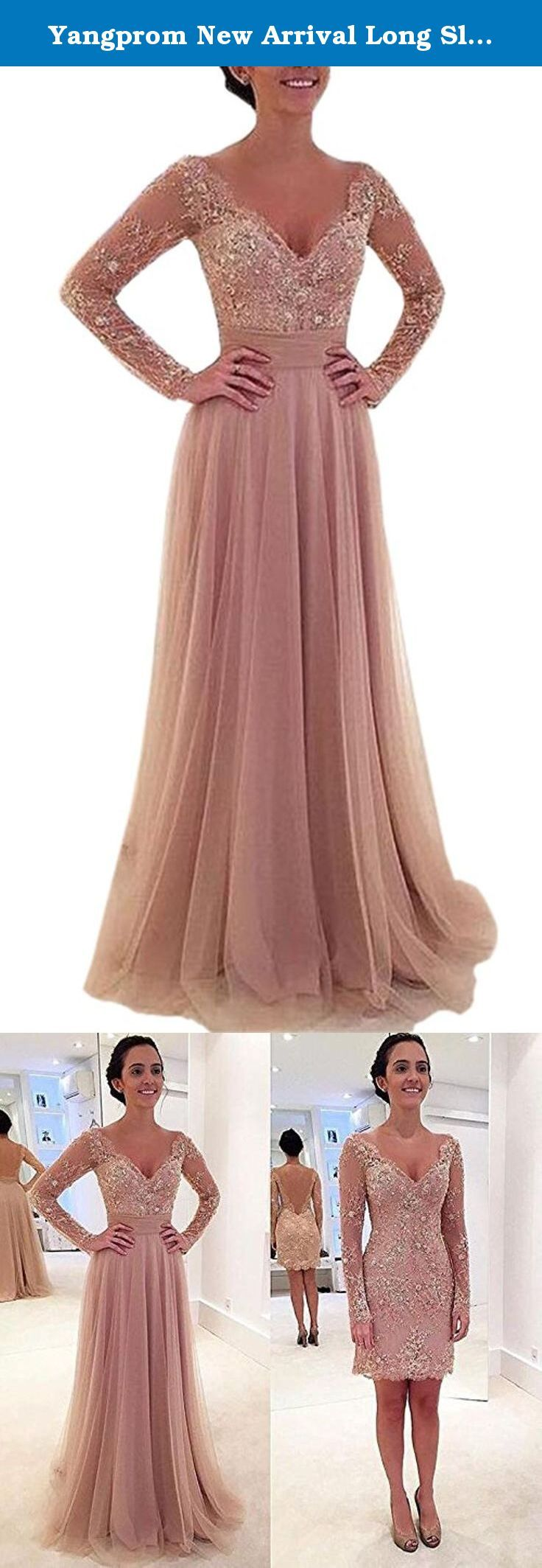 Yangprom new arrival long sleeve crystal prom dress with detachable