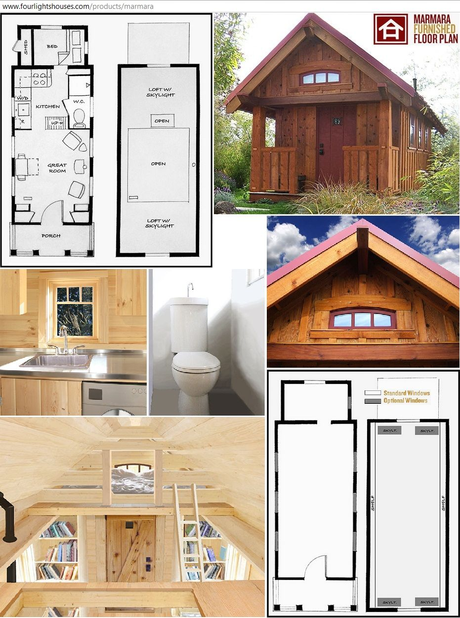 Marmara tiny house design furnished here with four lights for Small house with loft design