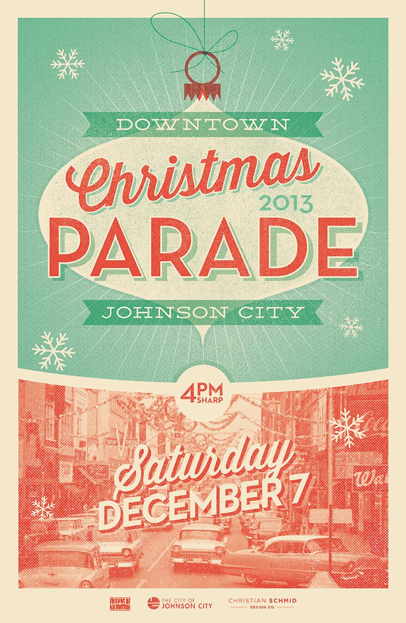 vintage christmas poster for johnson city  tn parade
