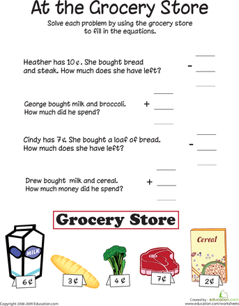 At The Grocery Store Addition And Subtraction Worksheet Education Com Math Worksheets Addition And Subtraction Worksheets Free Printable Math Worksheets