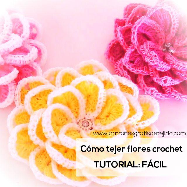 Aprende a Tejer Flores Crochet Super Fáciles / Tutorial en español ...