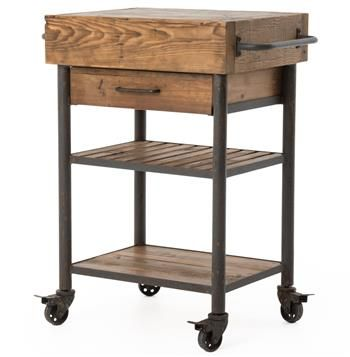 Kershaw Rustic Chunky Reclaimed Wood Iron Double Drawer Kitchen Glamorous Rustic Kitchen Cart 2018
