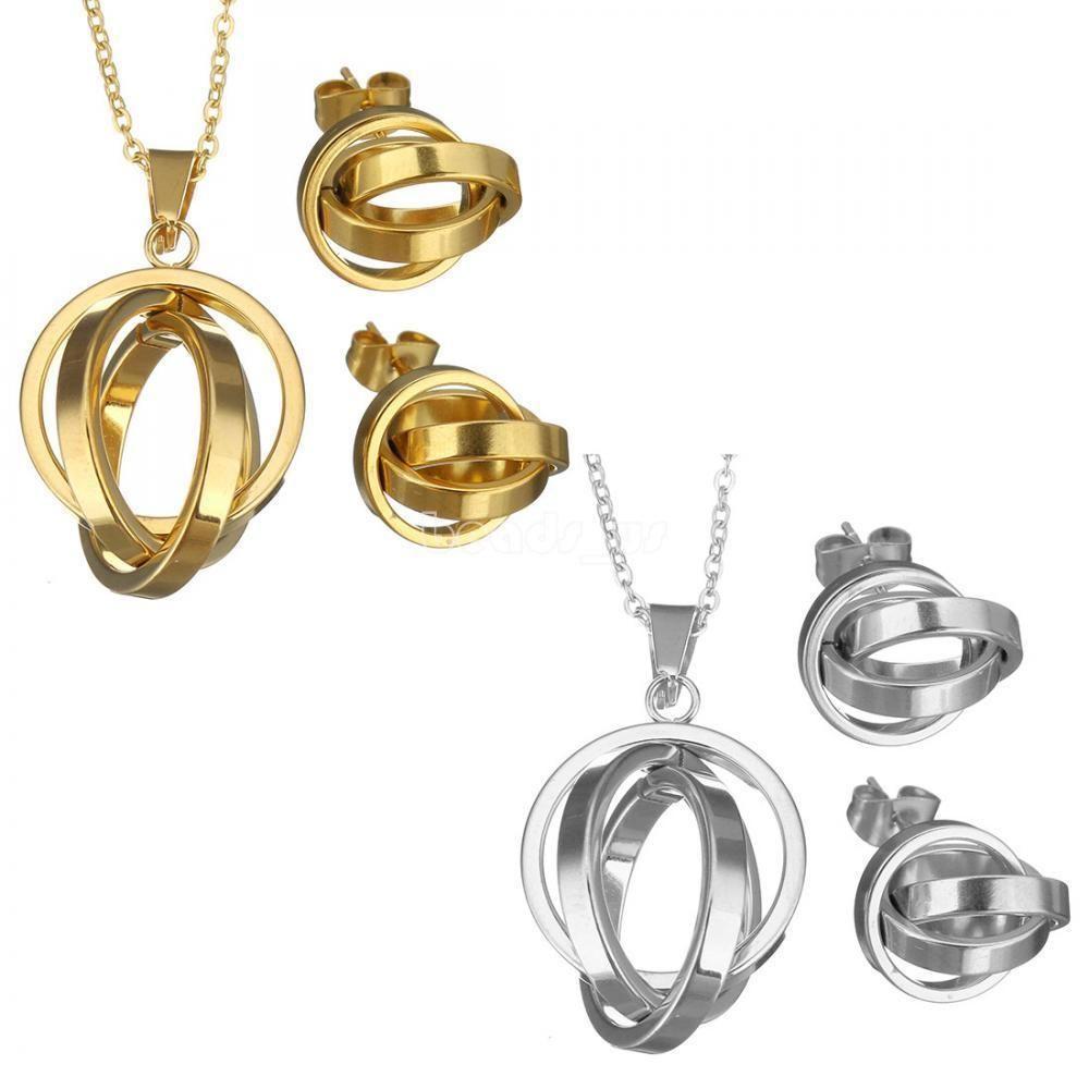 Stainless steel fashion women rings earrings u necklace elegant