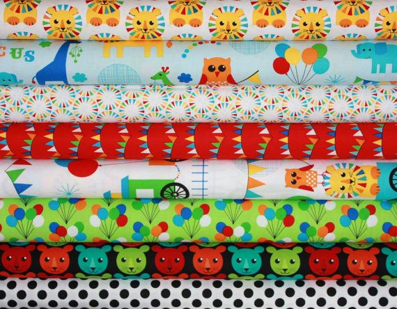 The Circus boy quilt or craft fabric bundle by Print and Pattern in fat quarters, $22.00