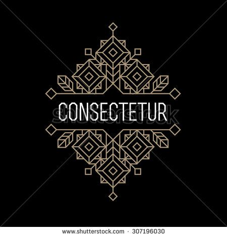 fb5520adc luxury antique art deco monochrome gold hipster minimal geometric vintage  linear vector frame , border , label for your logo, badge or crest for  club, bar, ...