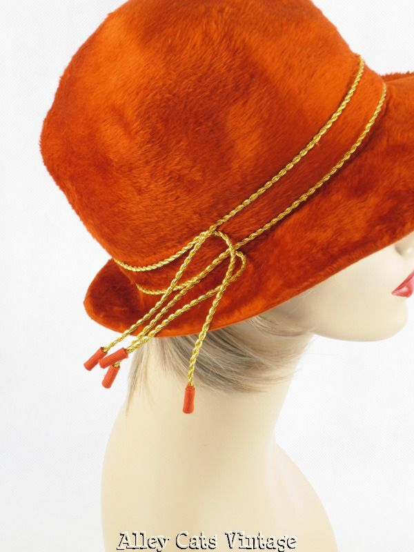 Vintage 1970s 70s Hat Bright Rust Faux Fur Fedora by Ann Marie