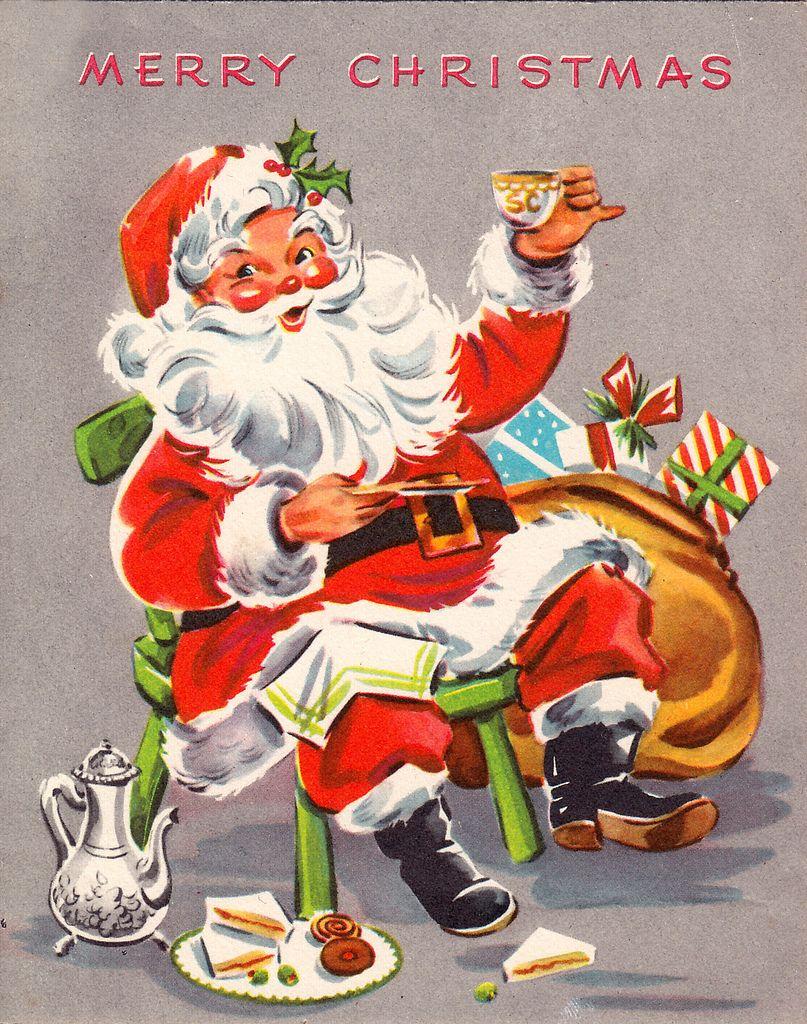 Cheers! Vintage Christmas Card Vintage christmas cards