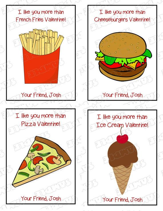 Kids valentine cards food junkfood pizza by greenmelonstudios – Food Valentines Cards
