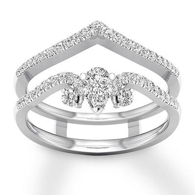Diamond Enhancer Ring 1 2 Ct Tw Round Pear 14k White Gold Buy Diamond Ring White Gold Real Gold Jewelry