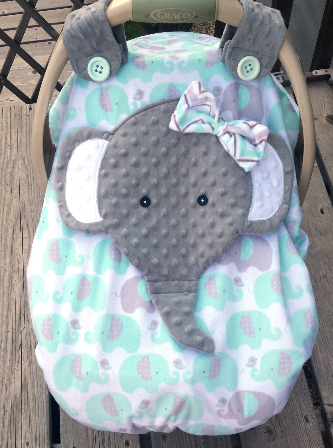 Made To Order Girls Minky Appliqued Elephant Fitted Car
