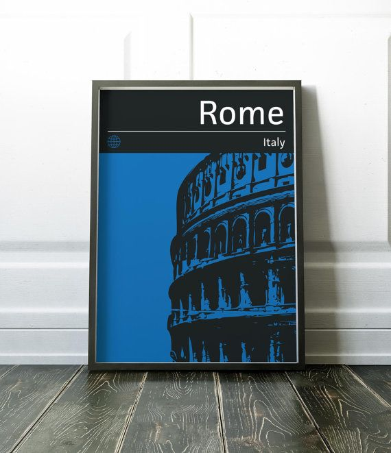 Minimalist Rome print. Colourful city print. Visit my store for more cities and countries. Purchase the matching set of 3 city prints here and save over 30% www.etsy.com/uk/listing/486604265  Lots more Travel and City prints are available here: www.etsy.com/uk/shop/NordicDesignHouse?section_id=19806341  Most of my prints are now available for you to print at home in my other shop here: www.etsy.com/uk/shop/NordicDesignHouseCo  MY PRINTS  Prints are produced on a professional Canon printer…