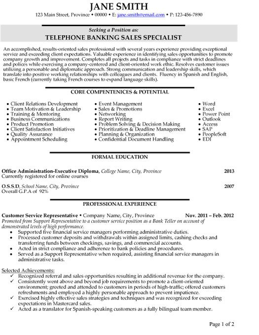 Telephone Banking Sales Specialist Resume Template Premium Resume Samples Example Sales Resume Telephone Banking Job Resume Samples