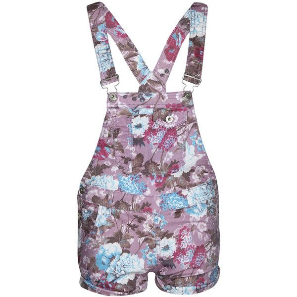 Boohoo Esmie Floral Denim Dungarees (350 ARS) ❤ liked on Polyvore featuring jumpsuits, shorts, overalls, dungarees, dresses, jumpsuit, denim overall, purple jumpsuit, boohoo jumpsuits and denim dungaree