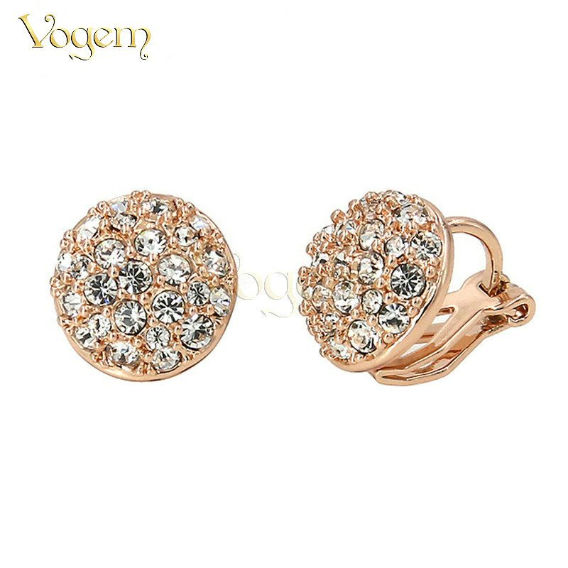 VOGEM New 2017 Clip Earrings For Women Rose Gold Plated CZ Diamond Clip on Earrings boucle d'oreille Earring Turkish Jewelry