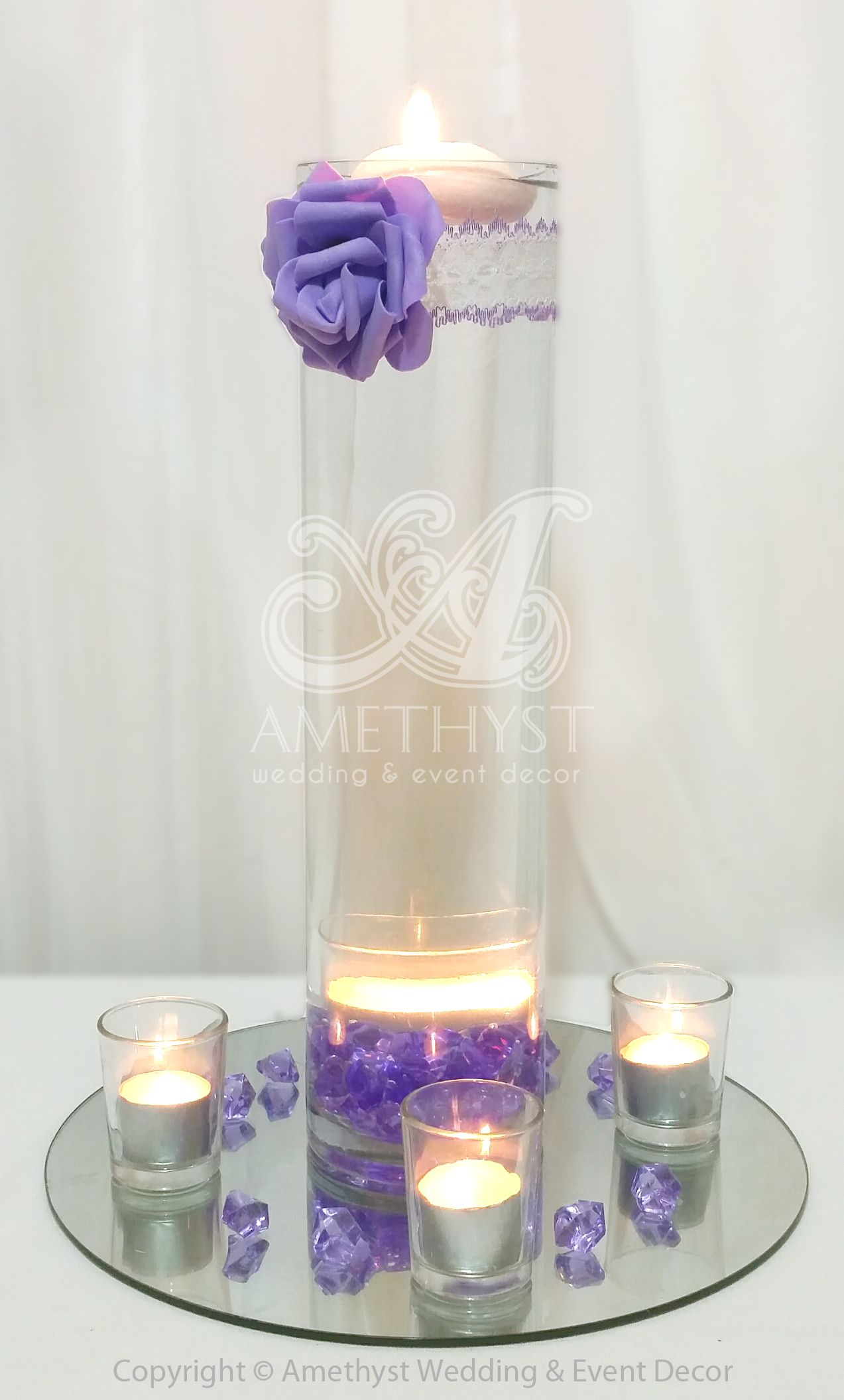 Simple & elegant wedding centerpiece: 40cm cylinder vase Purple PU ...