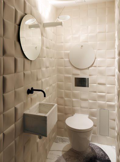 Het relief dat ontstaat met deze wandtegels, in combinatie met de - Design Bathroom