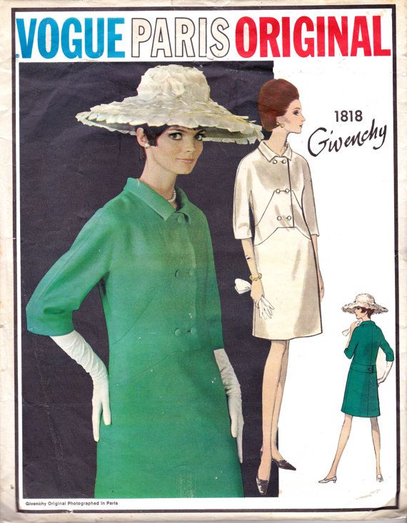 60s GIVENCHY Double Breasted Coat Dress Pattern Vogue Paris Original ...