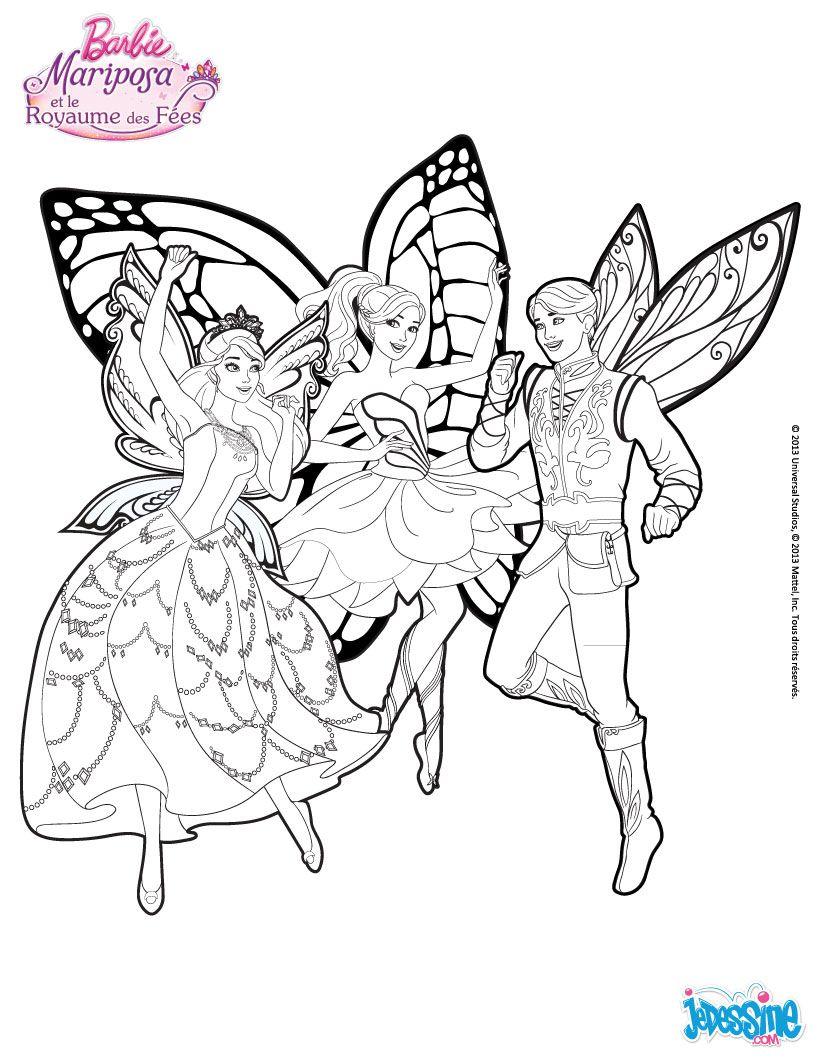 Un coloriage de Barbie fªtant sa victoire contre la sorci¨re avec ses amies du royaume des