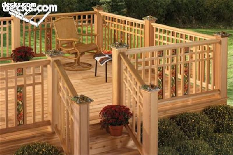 deck railing styles this craftsman style wood railing features stained glass inserts