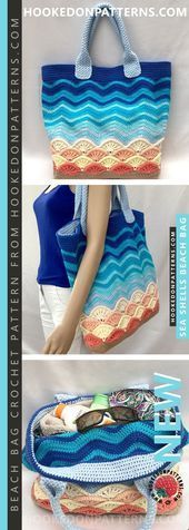 Photo of This crochet pattern for beach bags is for a large shopping bag with a …