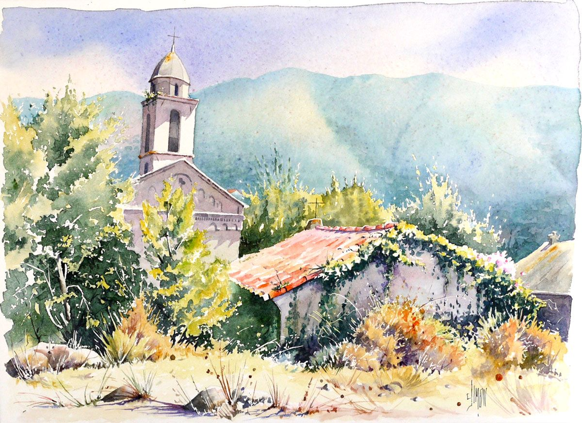 Watercolor Aquarelles Eglise De Santa Maria Corse Joel Simon