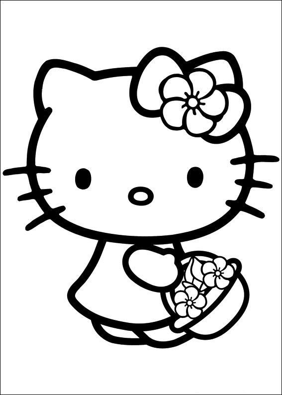 Basket Of Flowers Hello Kitty Colouring Pages Kitty Coloring Hello Kitty Coloring