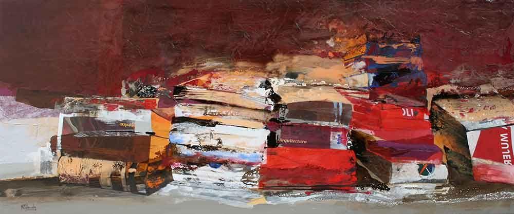"""Marta Maldonado, """"Acumulación de ideas"""", óleo, acrílico y collage sobre tela y madera (72 x 172 cm.)  http://www.galeriaalfama.com/images/maldonado/obra1.jpg"""