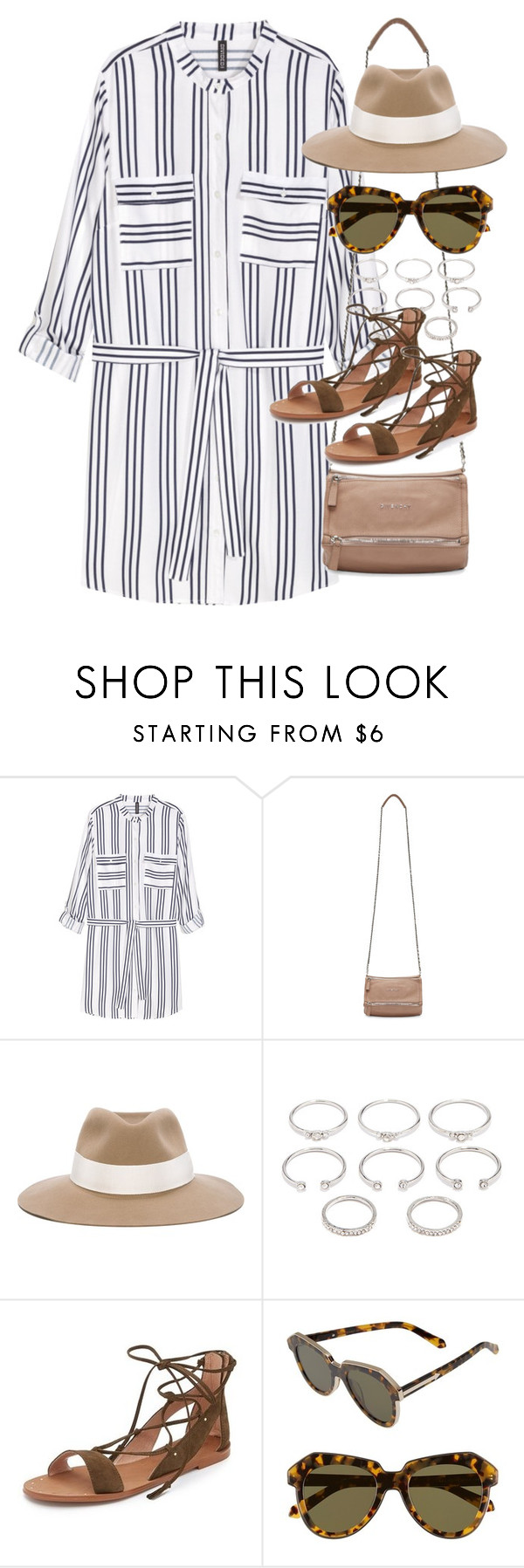 """""""Outfit with a shirt dress"""" by ferned ❤ liked on Polyvore featuring H&M, Givenchy, rag & bone, Forever 21, Madewell and Karen Walker"""