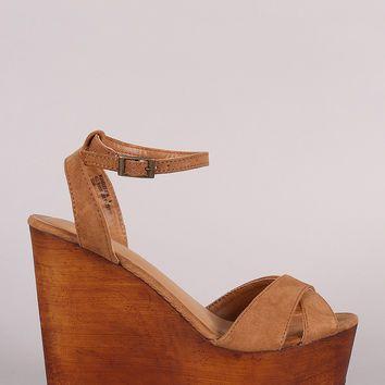 Bamboo Crisscross Ankle Strap Wooden Platform Mule Wedge